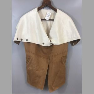 Miilla Faux Suede Vest Brown Ivory Large NWT